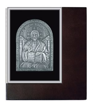 Plaque icons in wooden frame